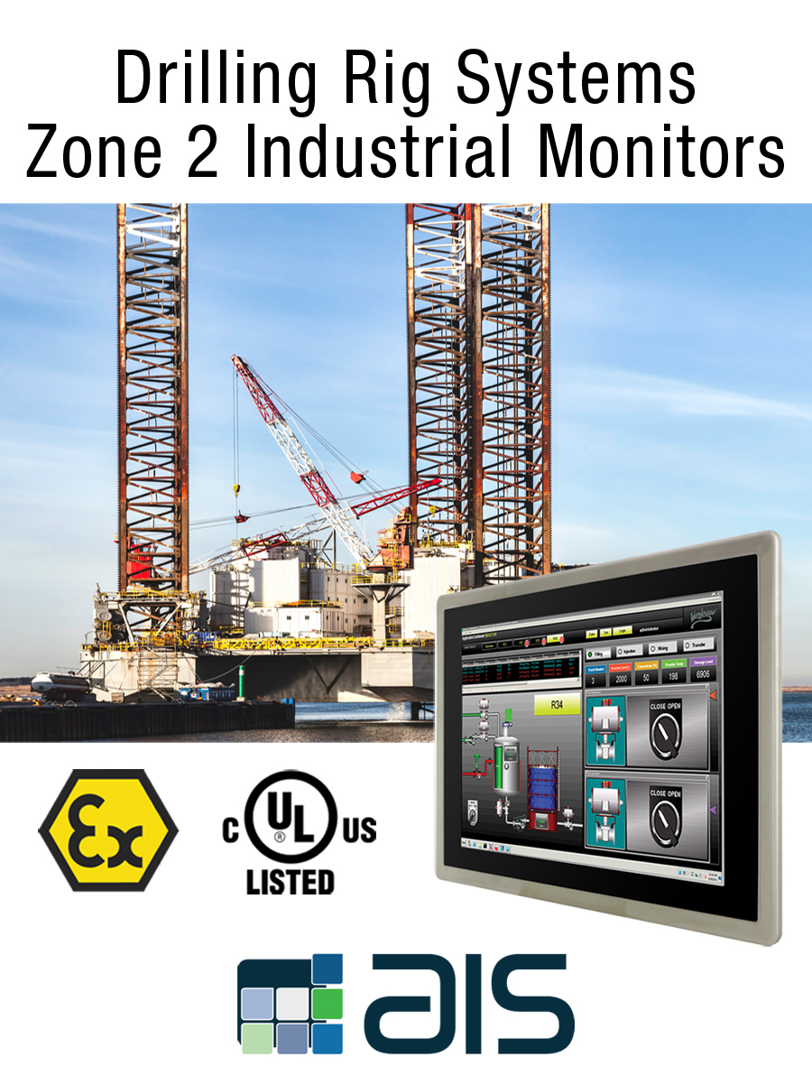 Oil and gas drilling rigs class 1 division 2 zone 2 industrial monitor