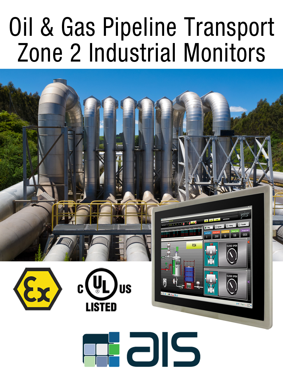 Oil and gas pipeline transportation Class 1 division 2 zone 2 industrial monitor
