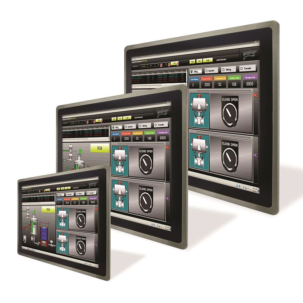HMI Panel PCs with Built-In Isolated Ethernet RJ45 and RS 232/422/485 Interfaces and 24V DC PS