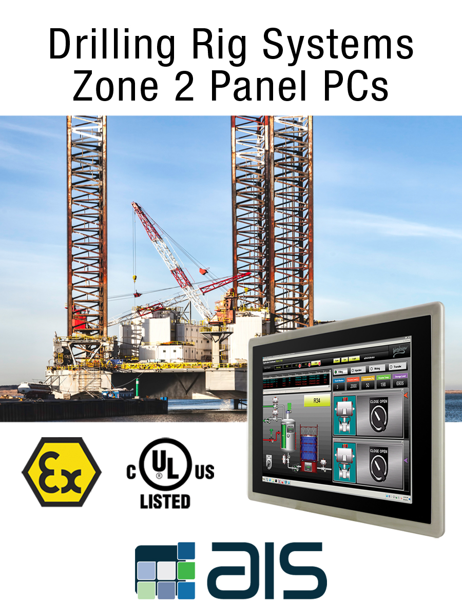 Drilling and Completion Fluids Class I Div 2, ATEX zone 2 HMI Touch Panel PC